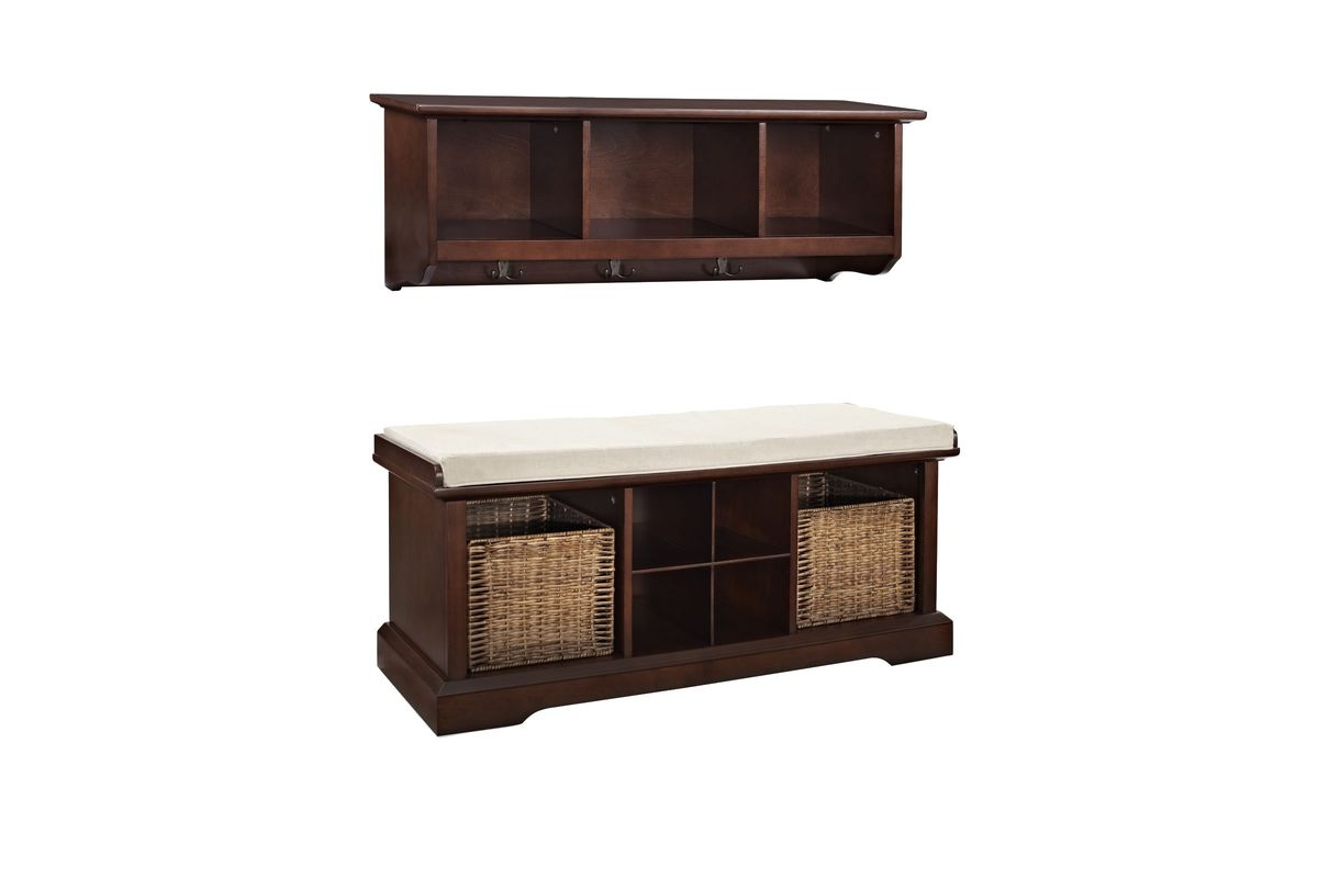Brennan 2 Piece Entryway Bench And Shelf Set In Mahogany By Crosley From Gardner White