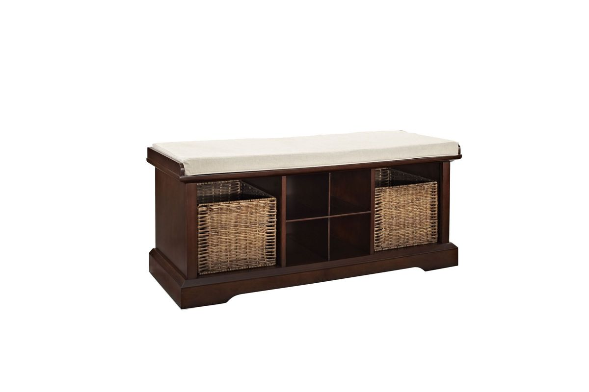 Brennan Entryway Storage Bench in Mahogany by Crosley from Gardner-White Furniture
