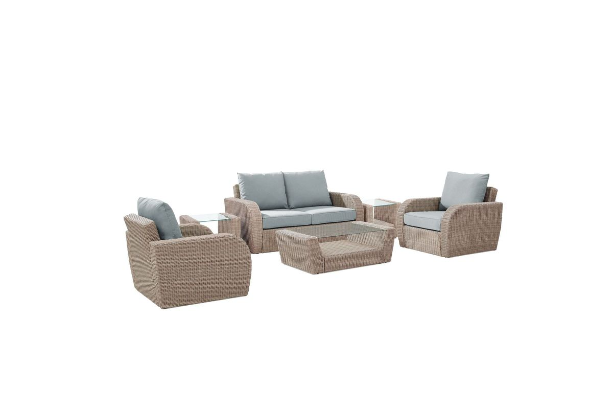 Excellent St Augustine 6 Piece Outdoor Seating Set With Mist Cushions By Crosley Short Links Chair Design For Home Short Linksinfo