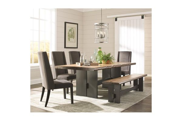 Scott Living Marquette Live Edge Dining Table Set With Bench