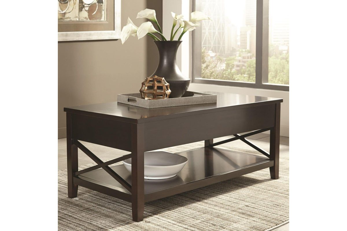 Scott Living Transitional Espresso Lift Top Coffee Table