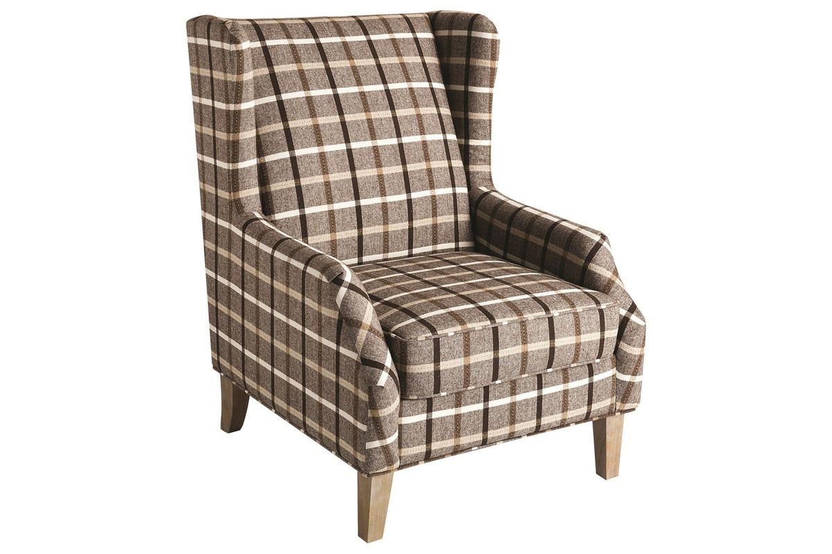 Scott Living Upholstered Wingback Chair With Plaid Design From  Gardner White Furniture