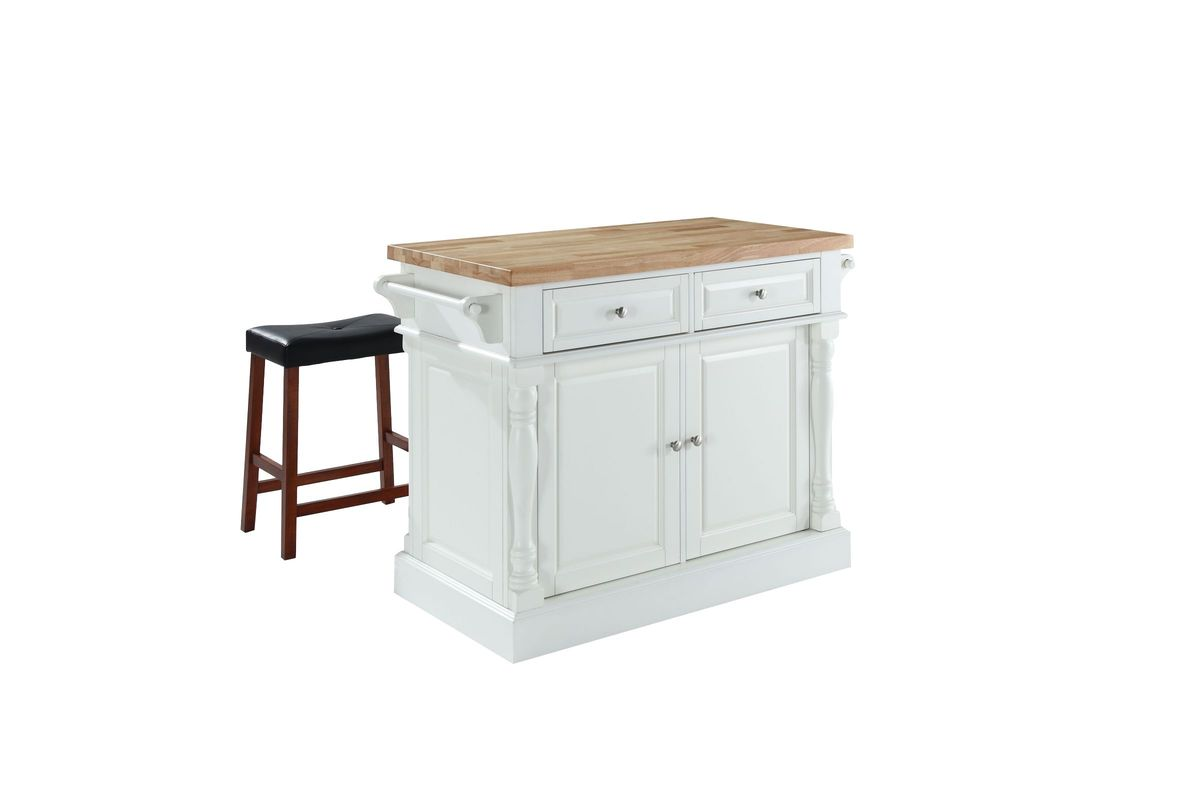 Oxford Butcher Block Top Kitchen Island in White with 24
