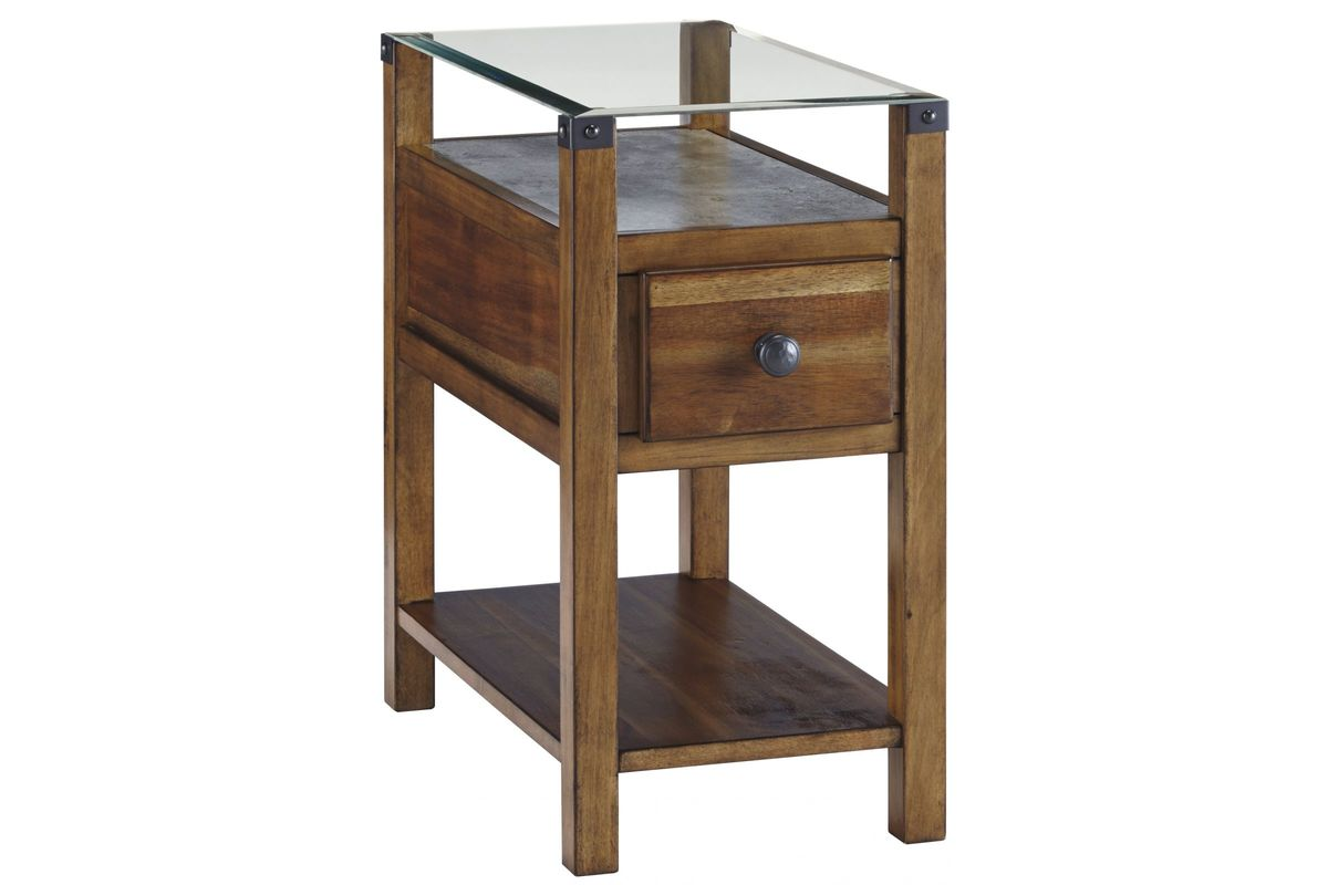 Diamenton Glass Top Chair Side End Table In Medium Brown By Ashley