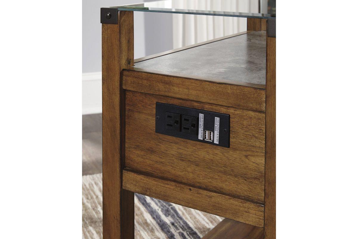Diamenton Glass Top Chair Side End Table In Medium Brown