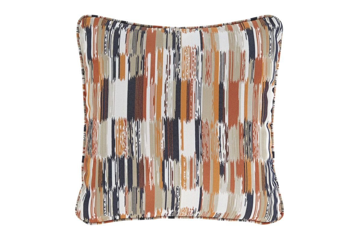 Jadran Pillow in Brown, Orange, Red, and White by Ashley from Gardner-White Furniture