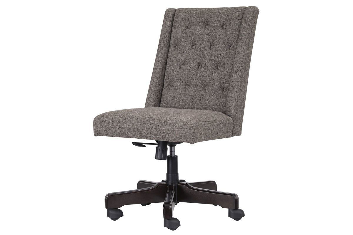 Home Office Tufted Swivel Desk Chair in Graphite by Ashley from Gardner-White Furniture