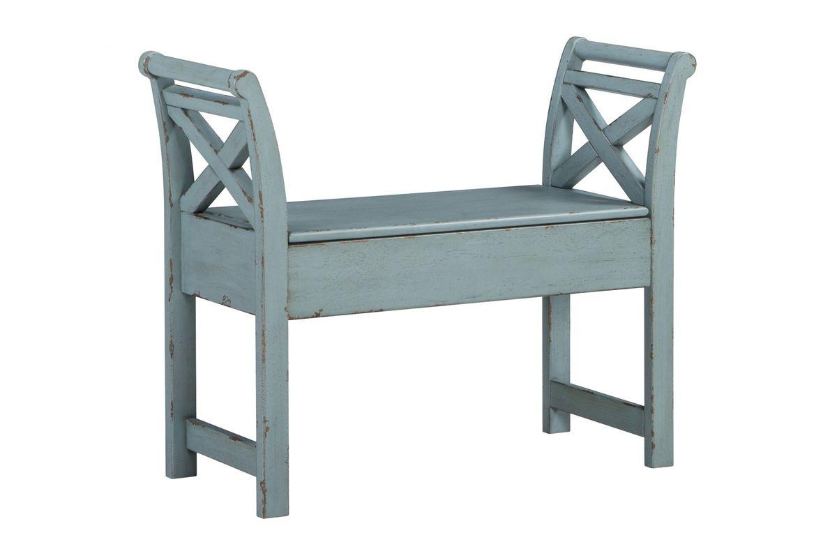 Fabulous Heron Ridge Accent Bench In Blue By Ashley Creativecarmelina Interior Chair Design Creativecarmelinacom