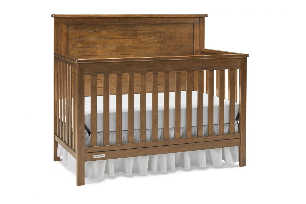 fisher price quinn convertible crib in rustic brown by bivona. Black Bedroom Furniture Sets. Home Design Ideas
