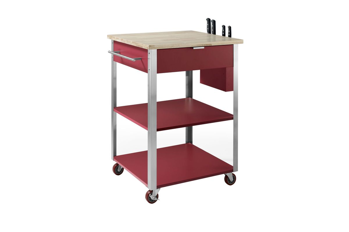 Culinary Prep Kitchen Cart in Red by Crosley