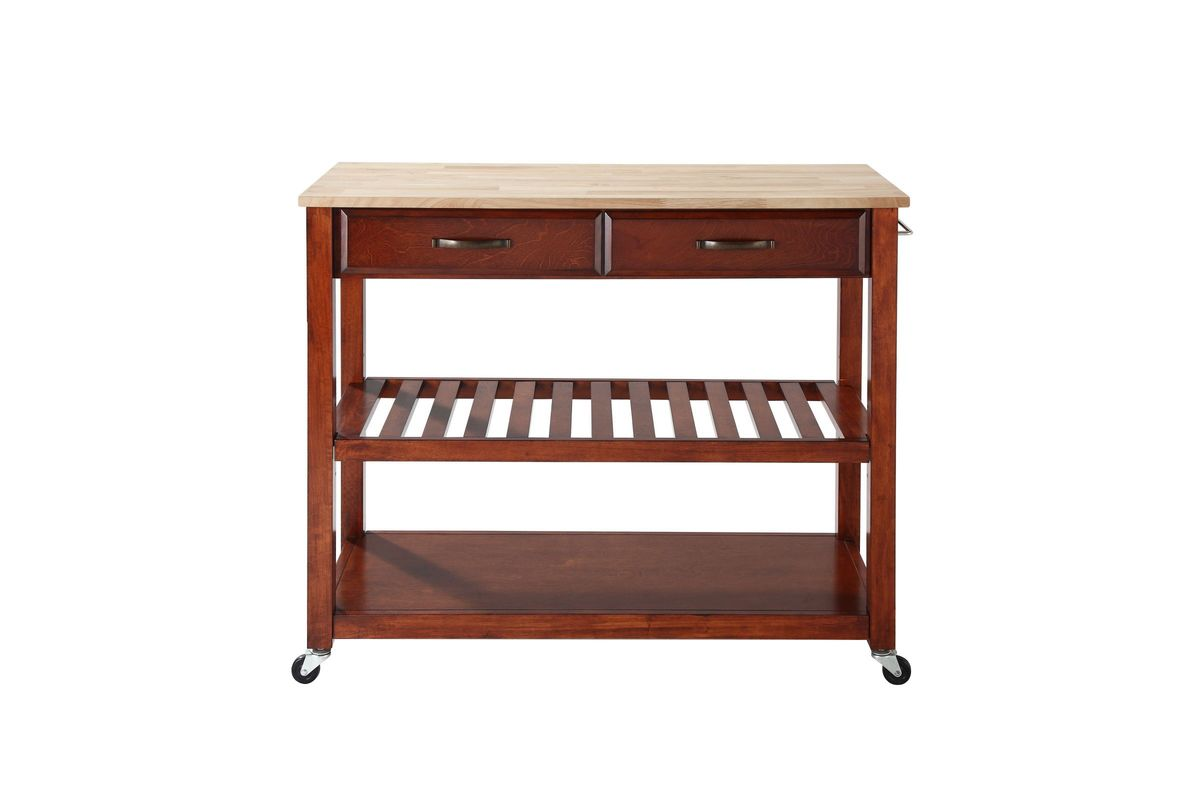 Natural Wood Top Kitchen Cart/Island with Optional Stool Storage in Classic  Cherry by Crosley