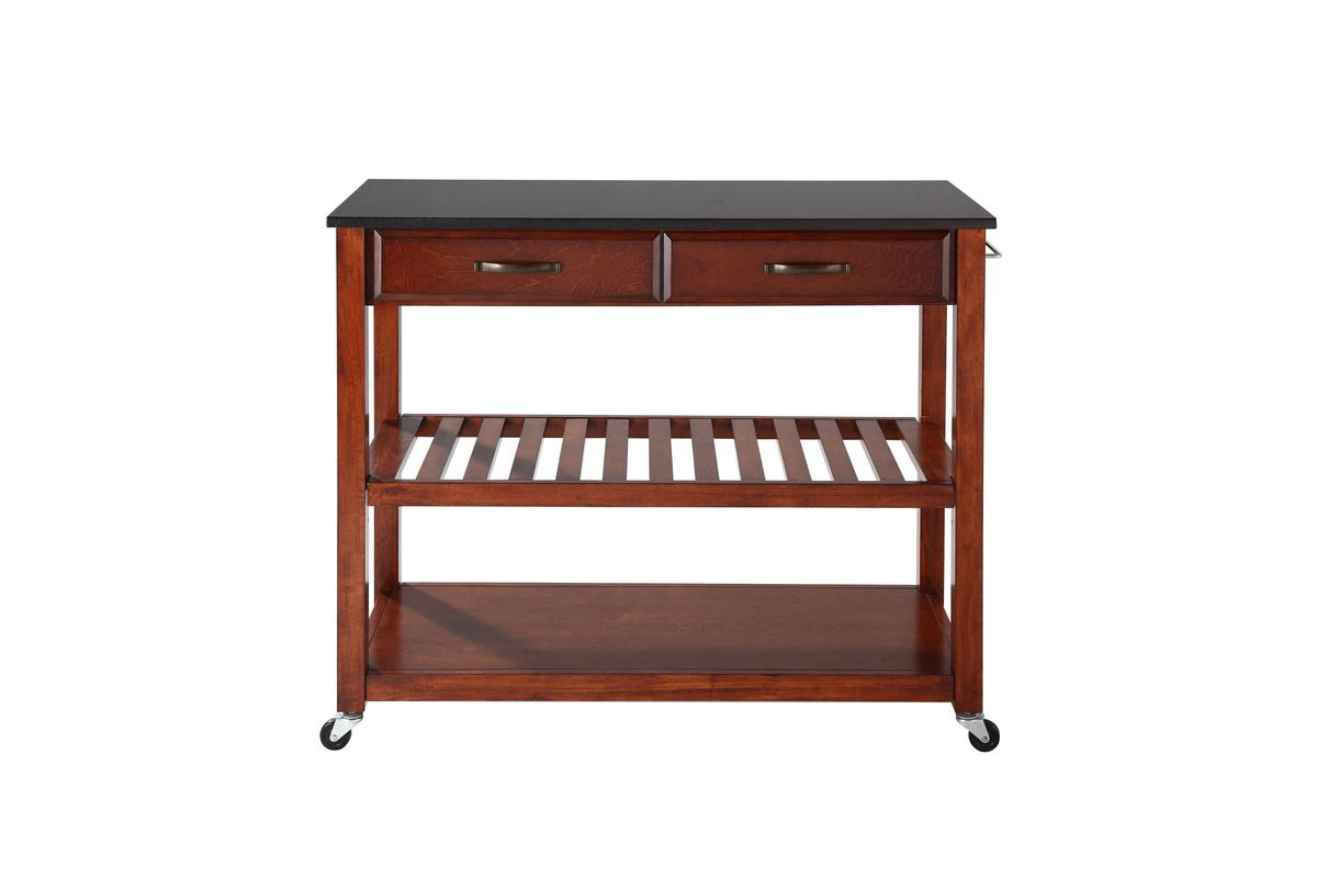 Solid Black Granite Top Kitchen Cart/Island With Optional Stool Storage In  Cherry By Crosley