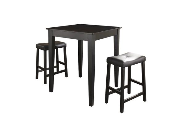 3 Piece Pub Dining Set + Upholstered Saddle Stools In Black By Crosley