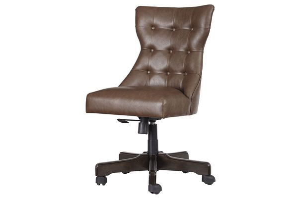 Bon Home Office Tufted Swivel Desk Chair In Brown By Ashley