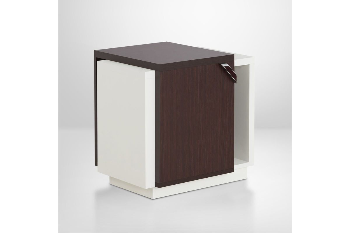 Samina Color Block Storage End Table In Walnut And White From Gardner Furniture