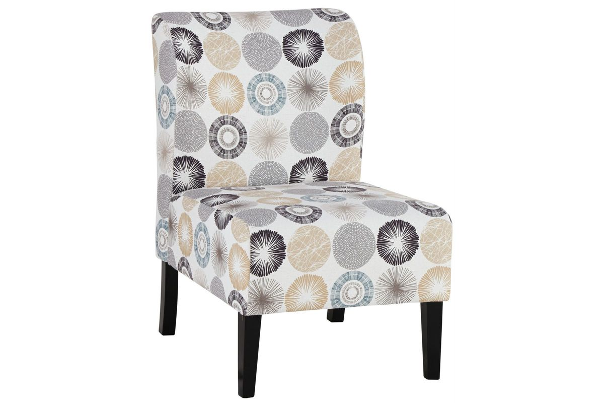 Triptis Accent Chair with Grey & Tan Circles by Ashley from Gardner-White Furniture
