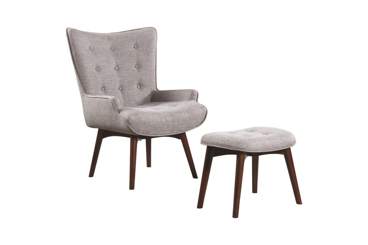 Incredible Scott Living Mid Century Modern Grey Accent Chair And Ottoman Andrewgaddart Wooden Chair Designs For Living Room Andrewgaddartcom