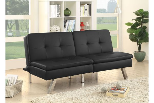 Chrissy Modern Tufted Leatherette Convertible Futon Sofa In Black