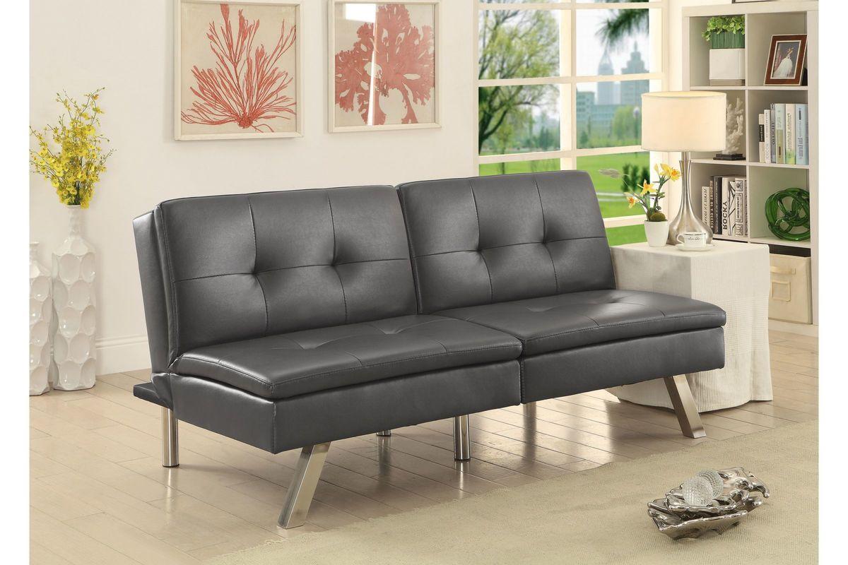 Awe Inspiring Chrissy Modern Tufted Leatherette Convertible Futon Sofa In Grey Evergreenethics Interior Chair Design Evergreenethicsorg