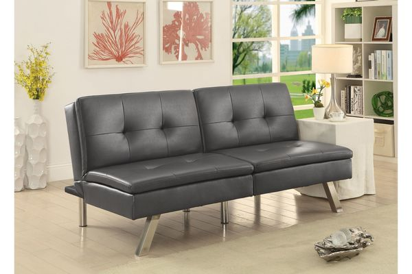 Chrissy Modern Tufted Leatherette Convertible Futon Sofa In Gray Online  Only $639.99 + Free Shipping