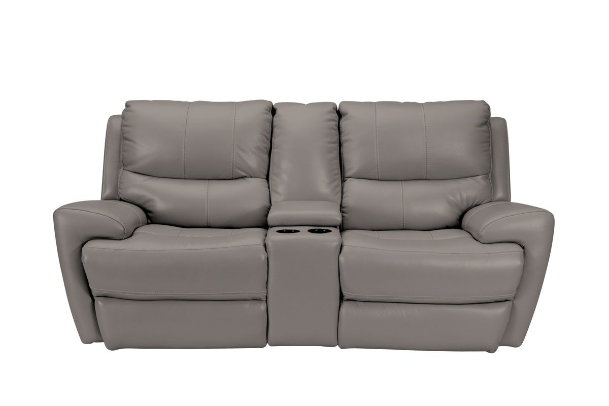 Greystone Power Reclining Loveseat With Console At Gardner