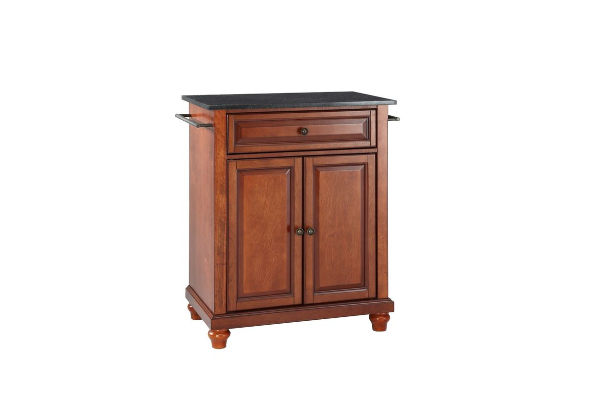 Cambridge Solid Black Granite Top Portable Kitchen Island in Classic Cherry by Crosley from Gardner-White Furniture