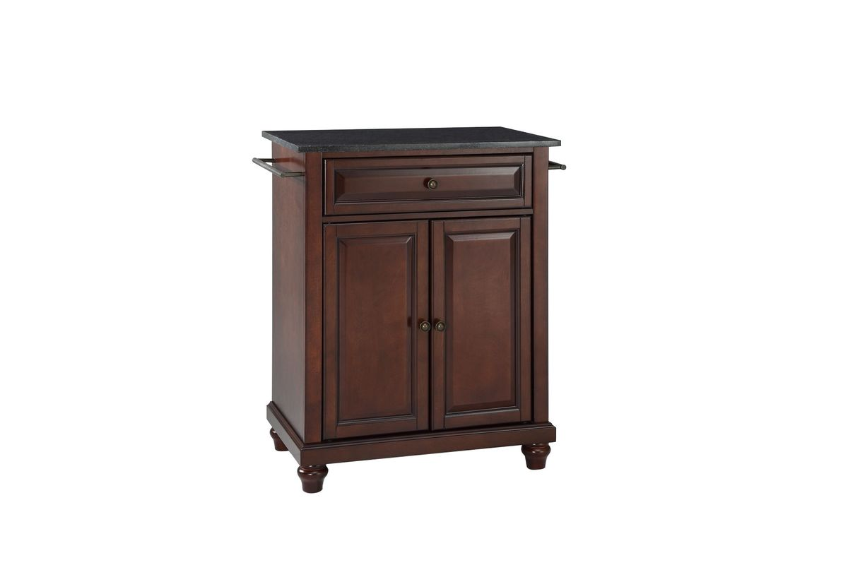 Cambridge Solid Black Granite Top Portable Kitchen Island in Vintage Mahogany by Crosley from Gardner-White Furniture