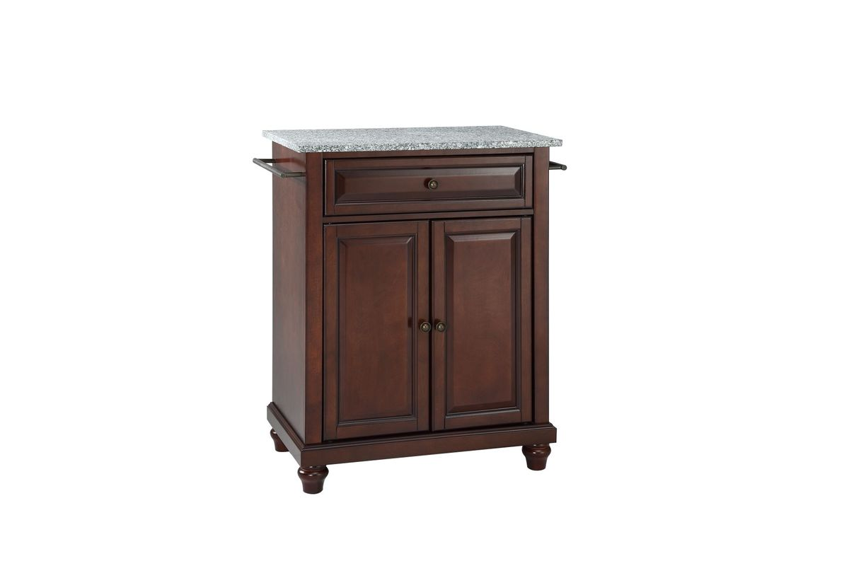 Cambridge Solid Granite Top Portable Kitchen Island in Vintage Mahogany by Crosley from Gardner-White Furniture
