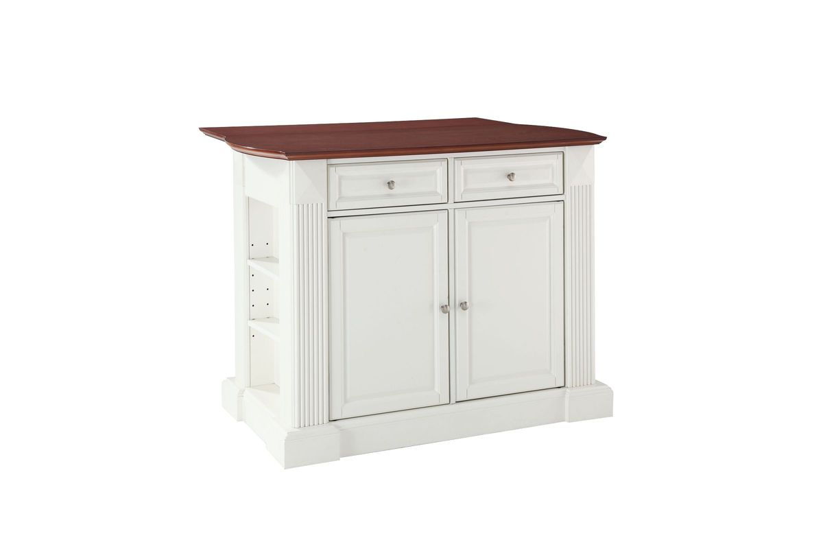Coventry drop leaf breakfast bar top kitchen island in white by crosley from gardner white