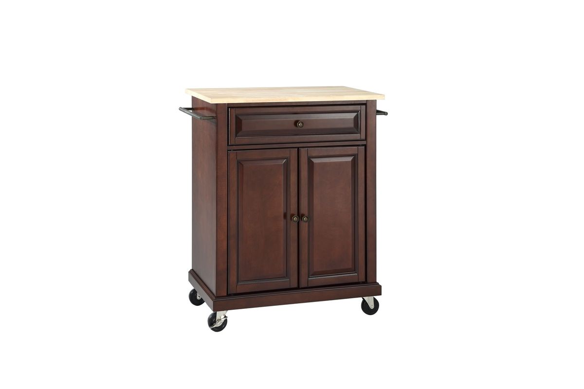 Natural Wood Top Portable Kitchen Cart/Island in Vintage Mahogany by Crosley from Gardner-White Furniture