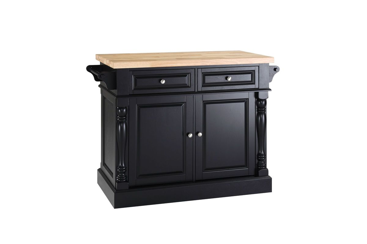 Oxford Butcher Block Top Kitchen Island in Black by Crosley