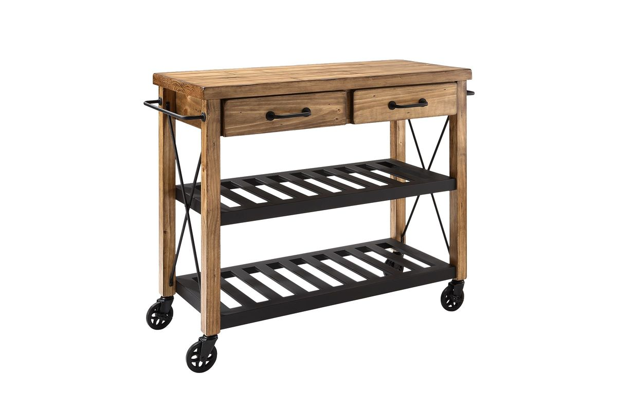 Roots Rack Industrial Kitchen Cart in Natural by Crosley from Gardner-White Furniture
