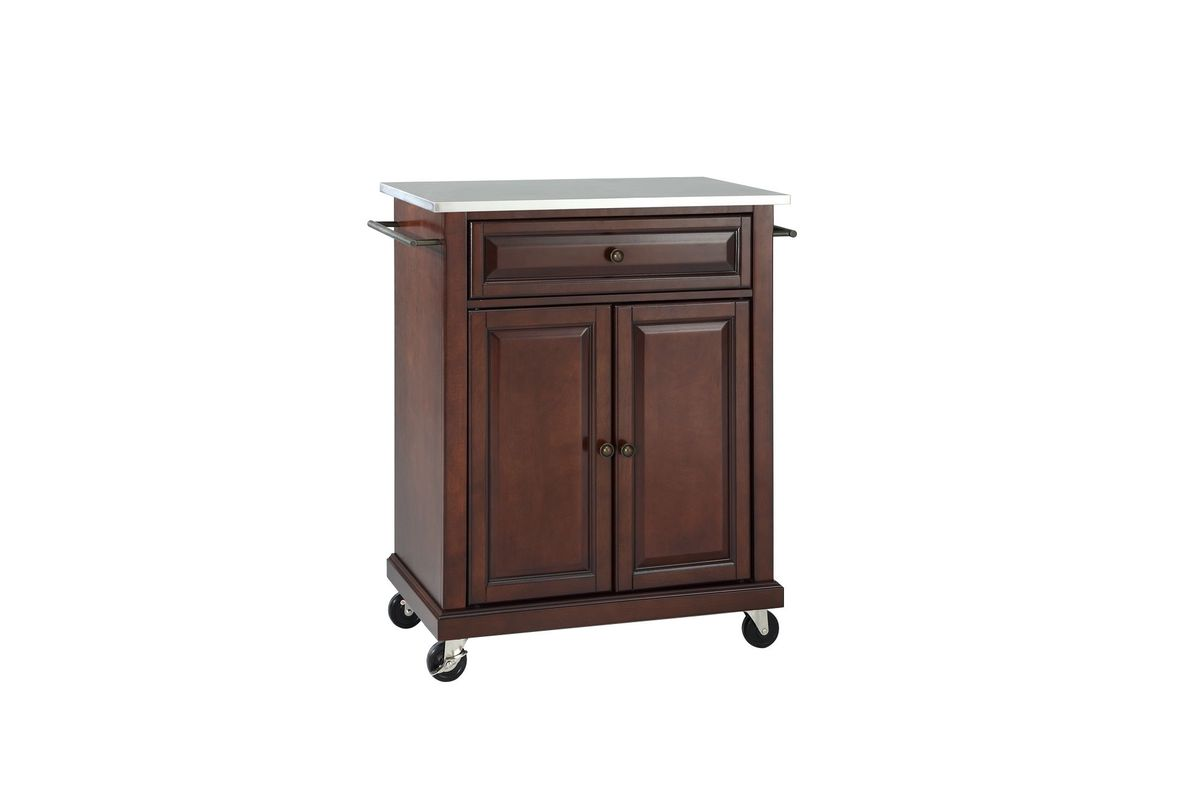 stainless steel top portable kitchen cart island in vintage mahogany by crosley. Black Bedroom Furniture Sets. Home Design Ideas