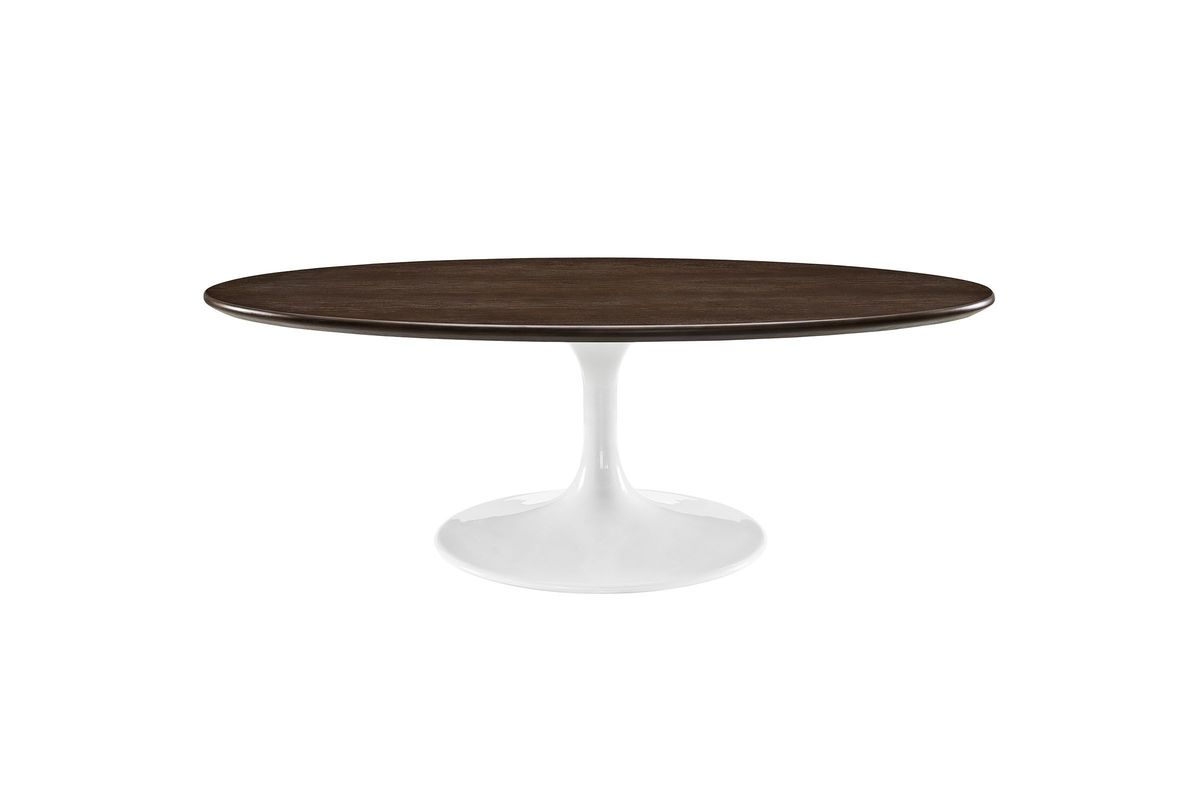 Lippa 48 Oval Shaped Walnut Coffee Table By Modway