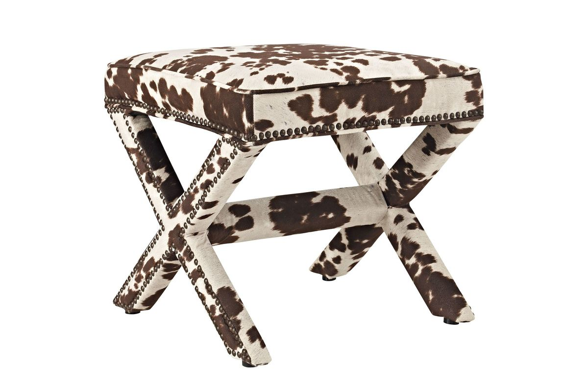Surprising Rivet Bench In Cow Print By Modway Dailytribune Chair Design For Home Dailytribuneorg