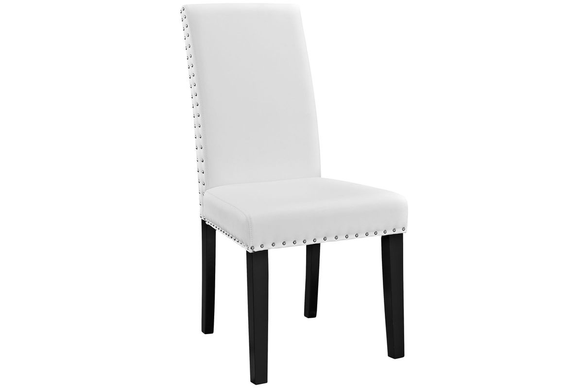 Parcel Dining Vinyl Side Chair in White by Modway from Gardner-White Furniture