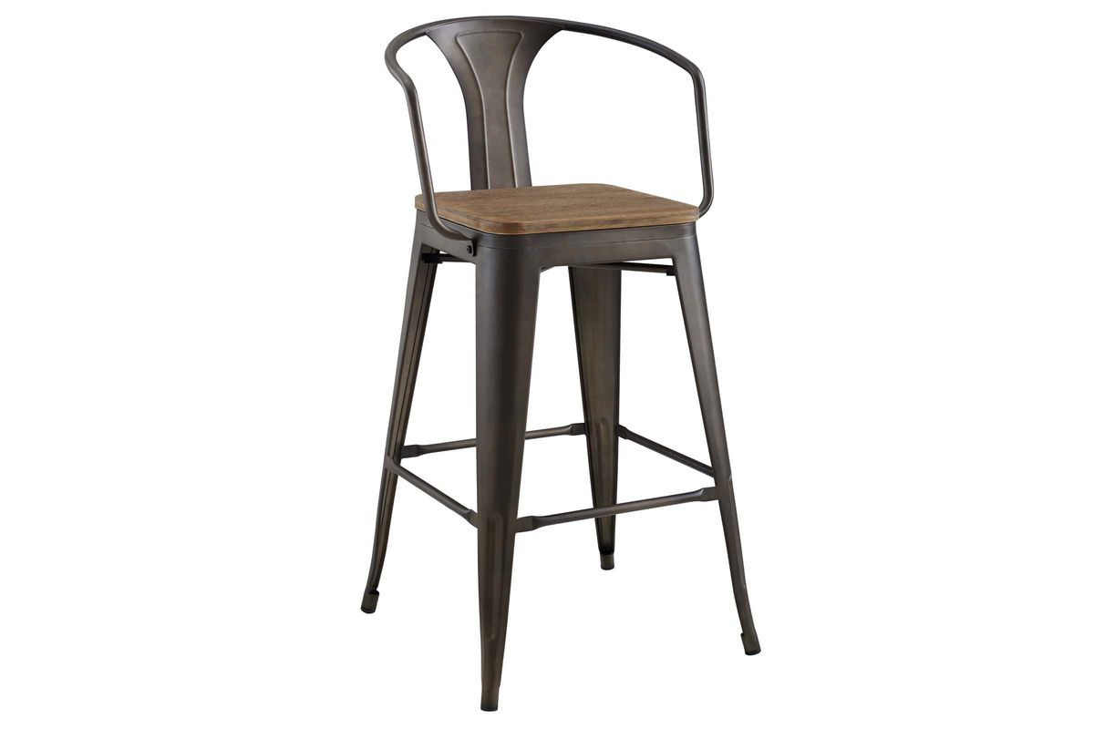 Promenade Low Back Bar Stool in Brown by Modway from Gardner-White Furniture