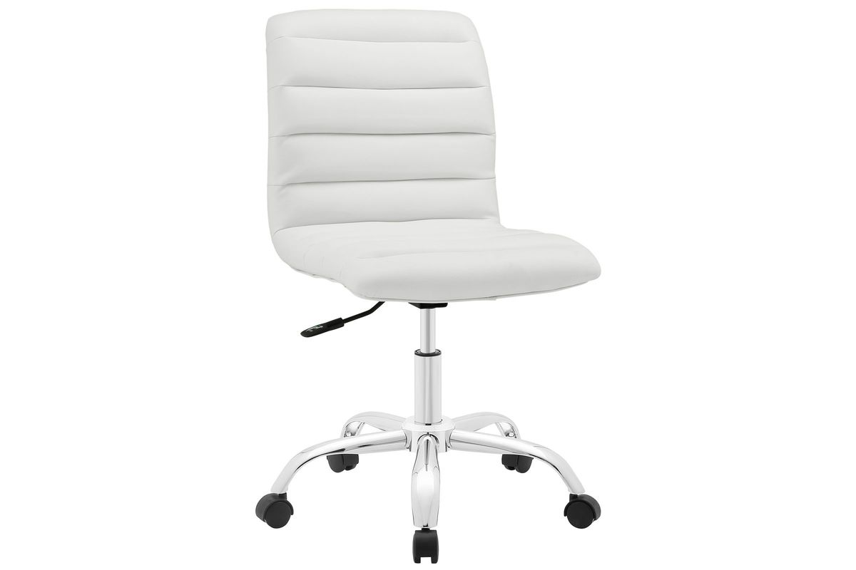 Magnificent Ripple Armless Mid Back Vinyl Office Chair In White By Modway Ocoug Best Dining Table And Chair Ideas Images Ocougorg