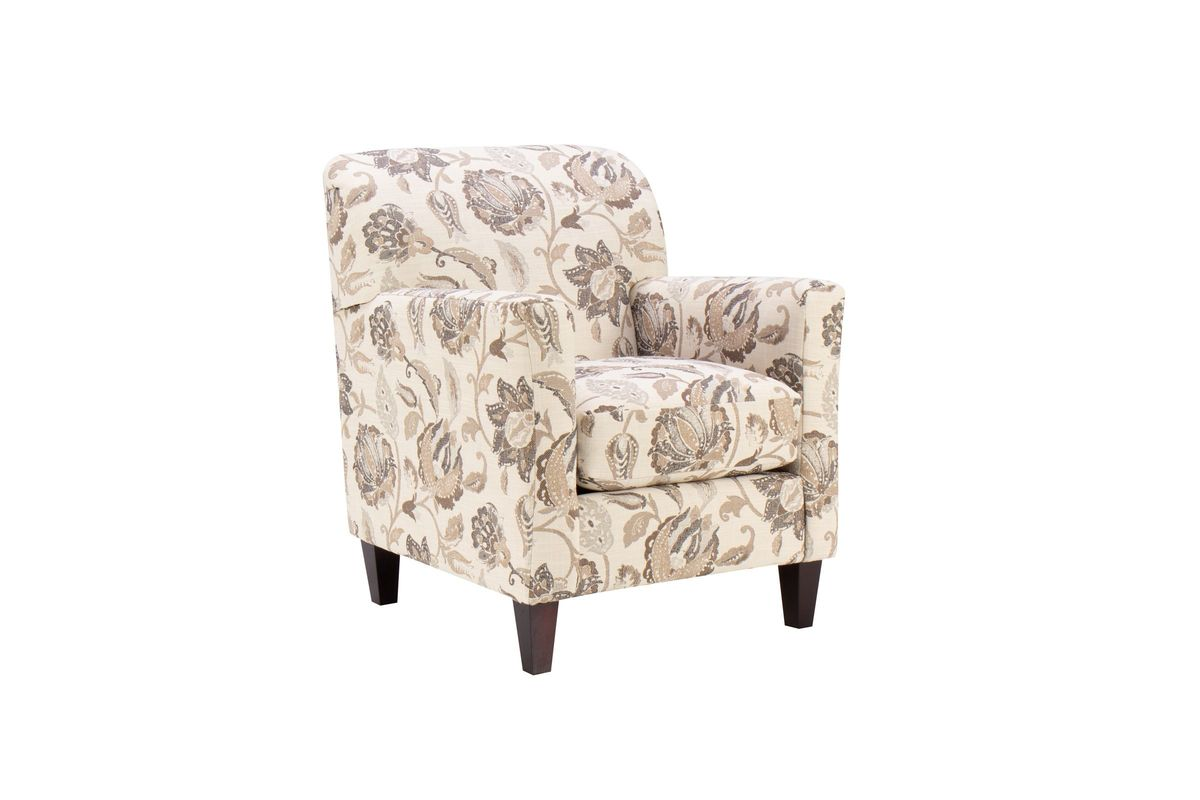 Floral Accent Chair in Cream, Grey & Taupe from Gardner-White Furniture
