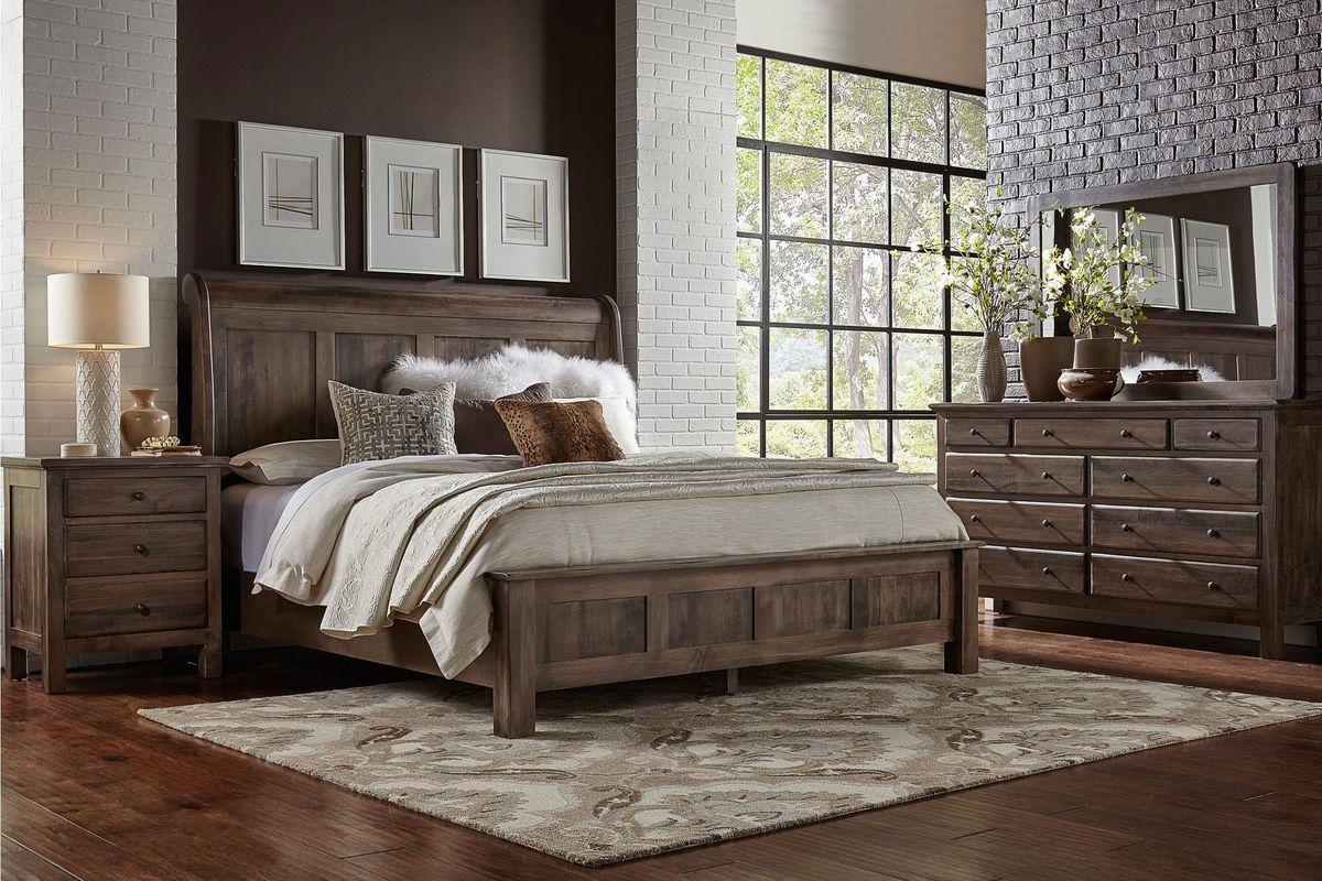 Elegant wood bedroom set with panel headboard in a warm grey finish