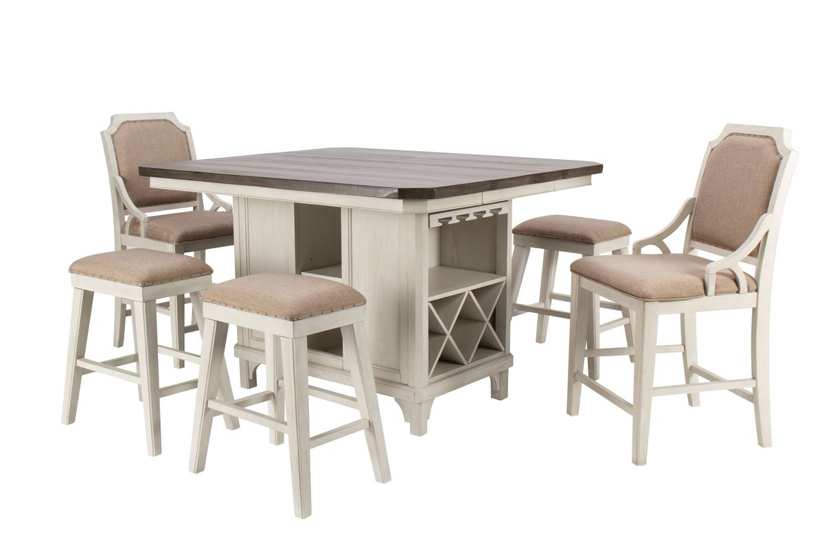 Mystic Island Table + 4 Stools + 2 Chairs from Gardner-White Furniture
