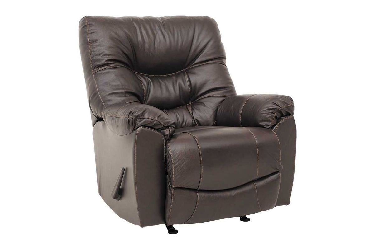 Trilogy Leather Rocker Recliner in Brown from Gardner-White Furniture