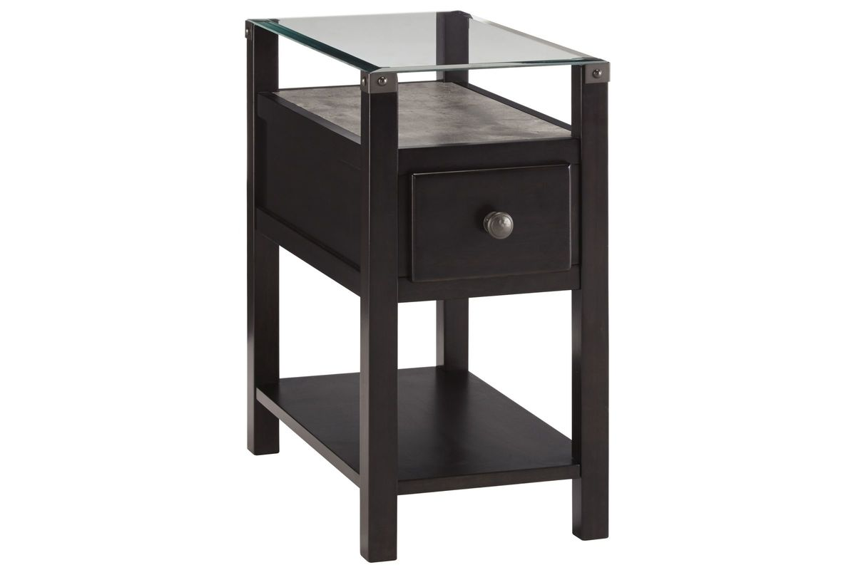 Diamenton Glass Top Chair Side End Table in Almost Black by Ashley from Gardner-White Furniture