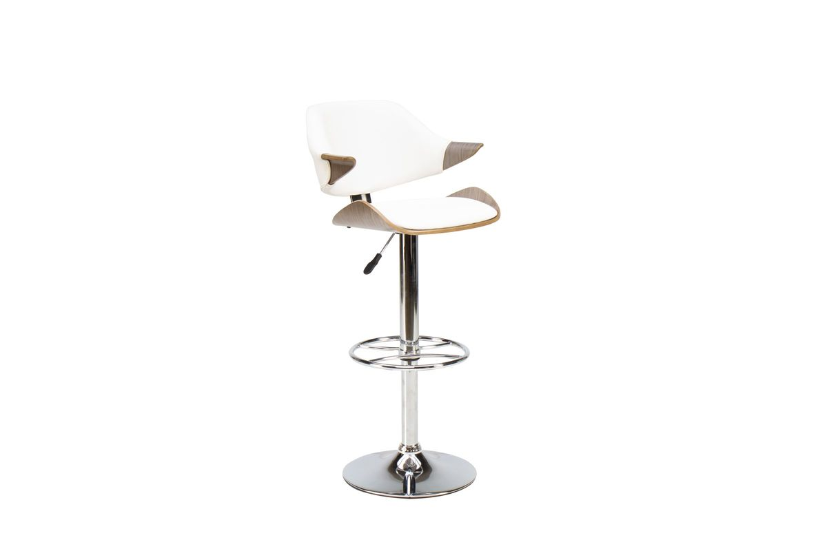 Oak/White Curved Arm Gas Lift Adjustable Bar Stool from Gardner-White Furniture