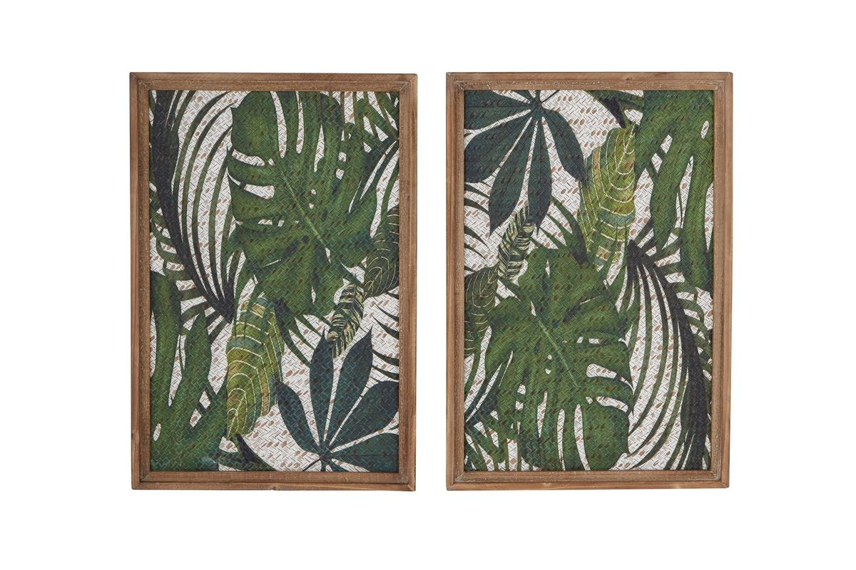 Natural Brown And Green Wood Framed Leaf Art Wall Decor Set Of 2