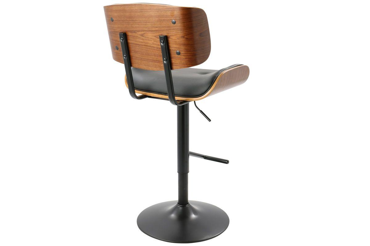 Lombardi Mid Century Modern Adjustable Barstool In Black