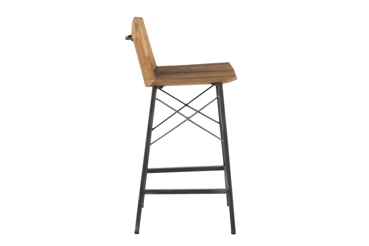Fabulous Java Industrial Counter Stool In Antique Metal And Teak Wood By Lumisource Set Of 2 Creativecarmelina Interior Chair Design Creativecarmelinacom