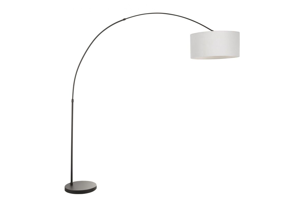 Salon Contemporary Floor Lamp With Black Base And Grey