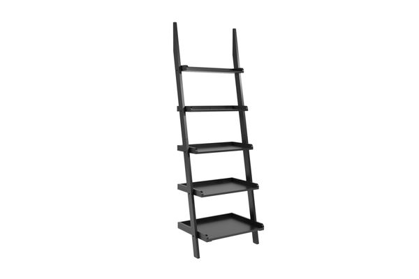 Black bookcase in leaning ladder style