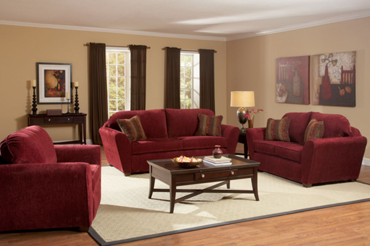 Ruby Red Sofa, Loveseat & Chair